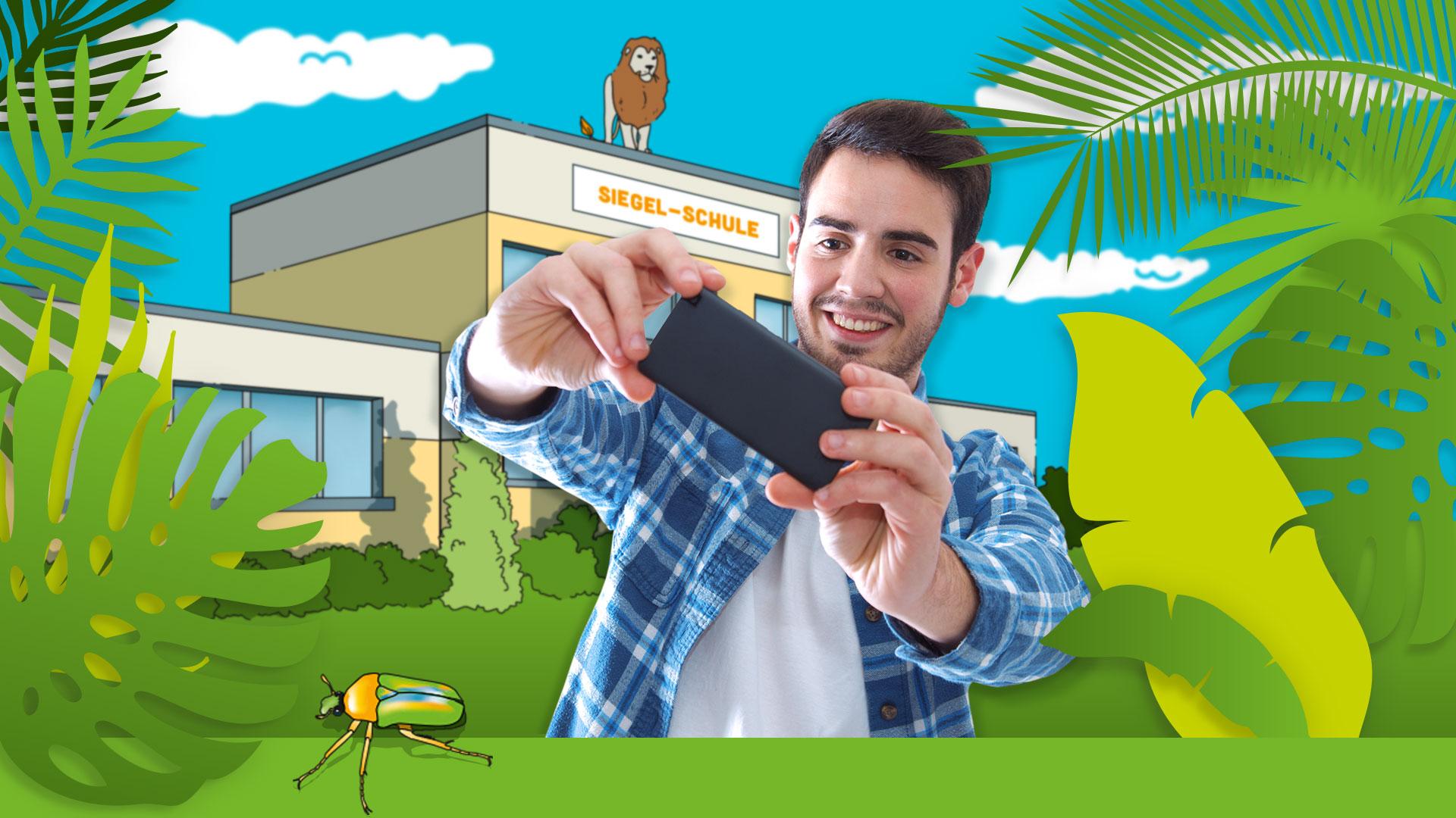 Smart-Film-Safari-Smartphone-Junge-Schule